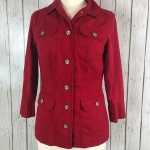 Pendleton Jacket Coat Blazer Red Small 3/4 Sleeve